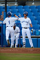 Dunedin Blue Jays right fielder Andrew Guillotte (1) is congratulated by second baseman Cavan Biggio (4) as he returns to the dugout after hitting a home run in the bottom of the second inning during a game against the St. Lucie Mets on April 19, 2017 at Florida Auto Exchange Stadium in Dunedin, Florida.  Dunedin defeated St. Lucie 9-1.  (Mike Janes/Four Seam Images)