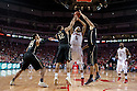 February 23, 2014: Terran Petteway (5) of the Nebraska Cornhuskers fouled by Bryson Scott (12) of the Purdue Boilermakers during the second half at the Pinnacle Bank Arena, Lincoln, NE. Nebraska 76 Purdue 57.