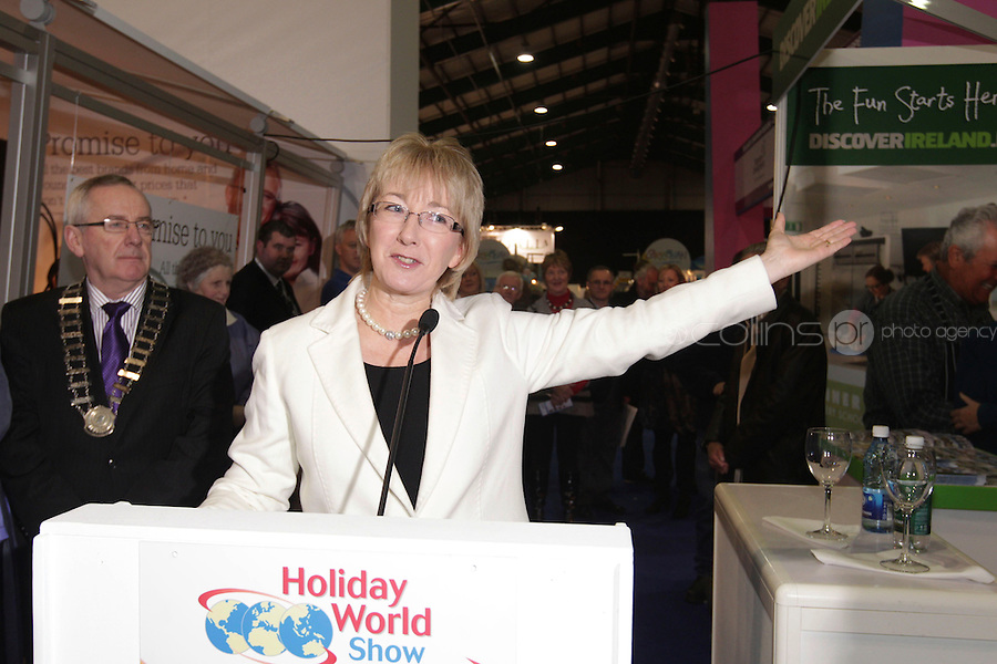 NO FEE PICTURES 28/1/11 Minister Mary Hanafin at the launch of the Holiday World Show at the RDS, Dublin, which runs from Friday 28th untill Sunday 30th January. Picture: Arthur Carron/Collins
