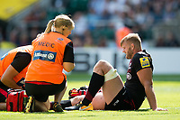 George Kruis of Saracens is treated for an injury during a break in play. Aviva Premiership match, between Saracens and Northampton Saints on September 2, 2017 at Twickenham Stadium in London, England. Photo by: Patrick Khachfe / JMP