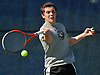 Brian Hoffarth of St. Anthony's High School returns a volley during the NSCHSAA varsity boys' tennis singles championship match against Chaminade junior Colin Sacco at Hofstra University on Thursday, May 7, 2015. The Loyola University-bound senior bested Sacco 6-3, 6-2 to win the league's singles title.