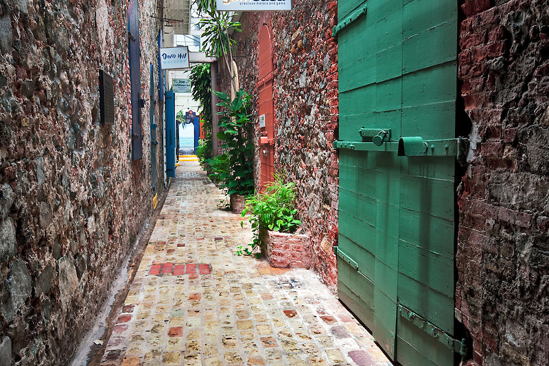 Narrow pathway in Charlotte Amalle, St. Thomas. US virgin Island