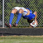 Columbia's Micah Peters performs his trademark flip throw in during the sectional semifinal game against Marion. Columbia defeated Marion 2-0 at Triad High School on Tuesday October 23, 2018 and will advance to the Class 2A sectional final game. <br /> Tim Vizer/Special to STLhighschoolsports.com