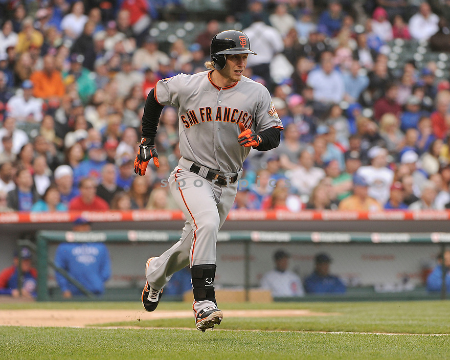 MIKE FONTENOT, of the San Francisco Giants in action during the Giants game against the Chicago Cubs, on May 13, 2011 at Wrigley Field in Chicago, Illinois.  The Cubs beat the Giants 11-4.
