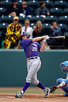 Trevor Mitsui #17 of the Washington Huskies bats against the UCLA Bruins at Jackie Robinson Stadium on March 17, 2013 in Los Angeles, California. (Larry Goren/Four Seam Images)