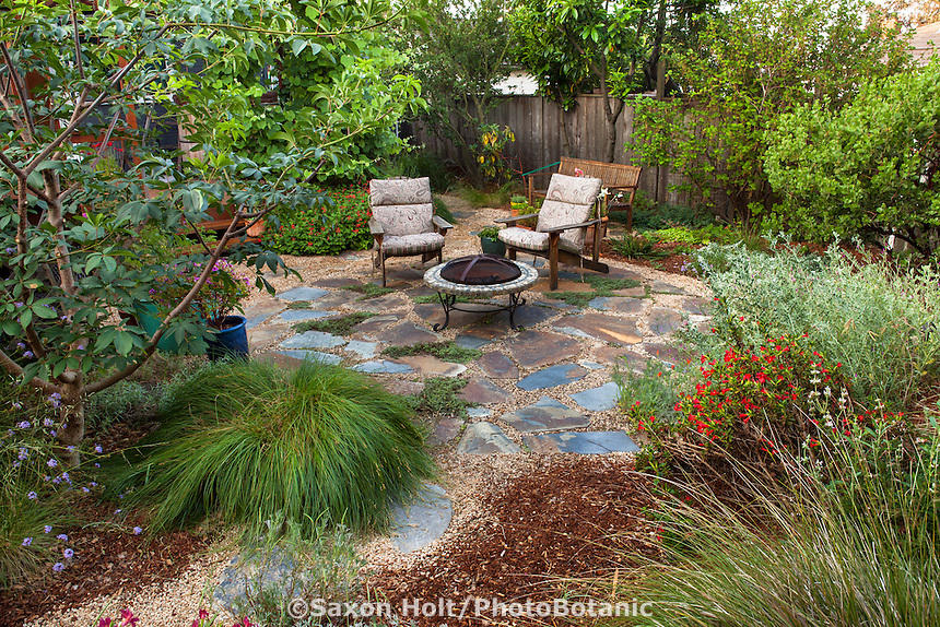 Elegant Path Leading To Backyard Permeable Patio With Firepit And Chairs With Well  Mulched California Native Plants Amazing Design