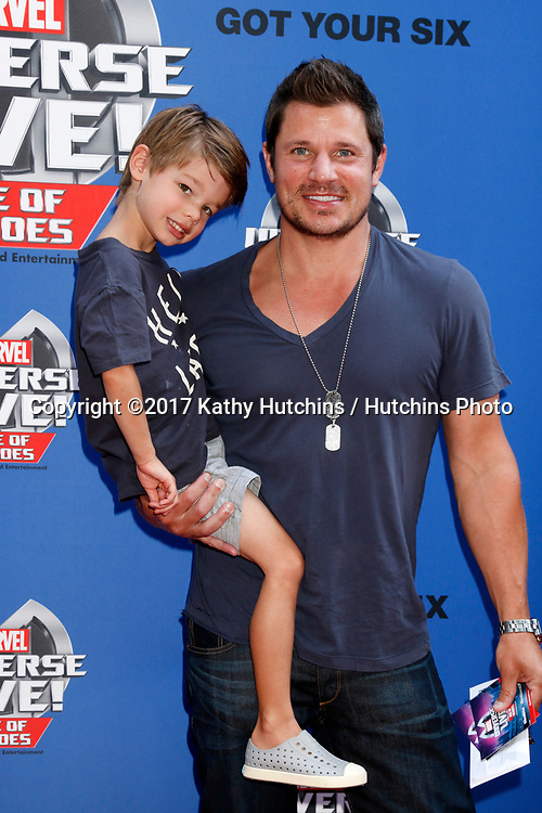 LOS ANGELES - JUL 8:  Star-Lord, Nick Lachey, Camden Lachey, Captain America_ at the Marvel Universe Live Red Carpet at the Staples Center on July 8, 2017 in Los Angeles, CA