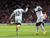 Pictured L-R: Nathan Dyer of Swansea celebrating his opening goal with team mate Wilfried Bony. Sunday 11 May 2014<br /> Re: Barclay's Premier League, Sunderland v Swansea City FC at the Stadium of Light, Sunderland, UK.