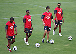 Atletico de Madrid's Florence Sinama-Pongolle, Luis Perez, Pablo Ibanez and Cleber Santana during training sesion. August 05 2009. (ALTERPHOTOS/Acero).