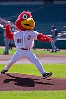 Rocky the Redhawk throws out the first pitch April 14th, 2010; MiLB action, Round Rock Express vs Oklahoma City Redhawks at AT&T Bricktown Ballpark in Oklahoma City,  Oklahoma