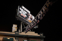 "A Budweiser Beer billboard reading ""Grab some Buds"" features the Boston Red Sox outside Fenway Park in Boston, Massachusetts, USA."