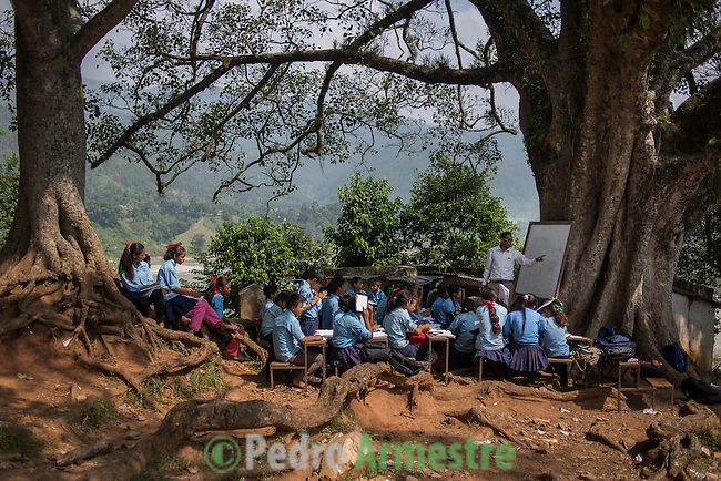 27 Septiembre 2015. Distrito de Nuwakot, Nepal<br /> EDUCACI&Oacute;N: Los ni&ntilde;os de la escuela de Pimaltar estudian debajo de un &aacute;rbol porque el terremoto destruy&oacute; su escuela. Unas 35.000 escuelas resultaron destruidas tras el se&iacute;smo de Nepal del pasado 25 de abril. &copy; Pedro Armestre/ Save the Children Handout. No ventas -No Archivos - Uso editorial solamente - Uso libre solamente para 14 d&iacute;as despu&eacute;s de liberaci&oacute;n. Foto proporcionada por SAVE THE CHILDREN, uso solamente para ilustrar noticias o comentarios sobre los hechos o eventos representados en esta imagen.<br /> &copy; Pedro Armestre/ Save the Children Handout - No sales - No Archives - Editorial Use Only - Free use only for 14 days after release. Photo provided by SAVE THE CHILDREN, distributed handout photo to be used only to illustrate news reporting or commentary on the facts or events depicted in this image.
