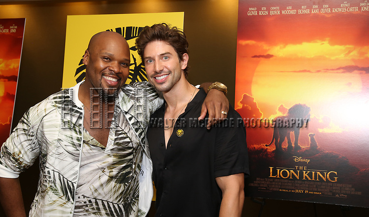 """Michael James Scott and Nick Adams attends the Broadway screening of the Motion Picture Release of """"The Lion King"""" at AMC Empire 25 on July 15, 2019 in New York City."""