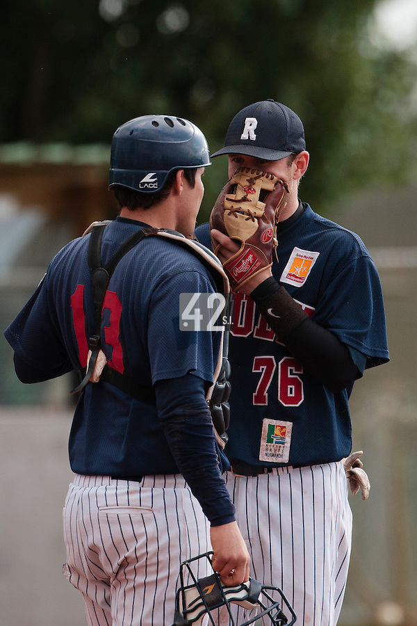 16 October 2010: Aaron Hornostaj of Rouen talks to Boris Marche during Rouen 16-4 win over Savigny, during game 1 of the French championship finals, in Savigny sur Orge, France.