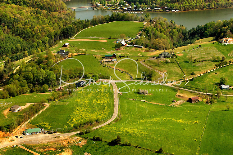 Aerial photography of and around Watauga Lake, Tenn., taken April 2011. Image shows Dry Hill General Store, Deli and Hardware (white building with green roof in lower left edge of photo).