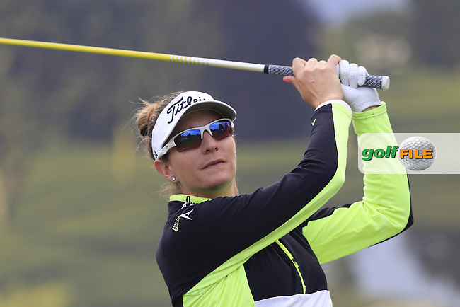 Brittany Lang (USA) tees off the 6th tee during Friday's Round 2 of the LPGA 2015 Evian Championship, held at the Evian Resort Golf Club, Evian les Bains, France. 11th September 2015.<br /> Picture Eoin Clarke | Golffile