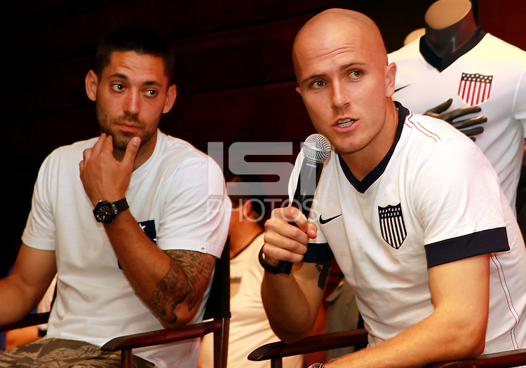 WASHINGTON, DC - May 31 2013: USA MNT players Clint Dempsey, Michael Bradley and Tim Howard together with coach Jurgen Klinsmann meet and greet fans at Niketown store in Georgetown, Washington DC, part of US Soccer centennial celebrations.