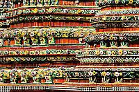 Ceramic porcelain designs on chedi, Wat Pho, Bangkok, Thailand