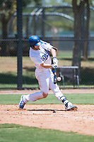 AZL Dodgers right fielder Jon Littell (27) swings at a pitch during an Arizona League game against the AZL Padres 2 at Camelback Ranch on July 4, 2018 in Glendale, Arizona. The AZL Dodgers defeated the AZL Padres 2 9-8. (Zachary Lucy/Four Seam Images)