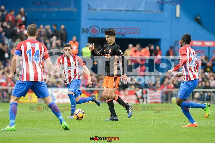 "Atletico de Madrid's Gabriel ""Gabi"" Fernández, Koke Resurreccion and Thomas Teye and Valencia CF's Carlos Soler during La Liga match between Atletico de Madrid and Valencia CF at Vicente Calderon Stadium  in Madrid, Spain. March 05, 2017. (ALTERPHOTOS/BorjaB.Hojas) /NortePhoto.com"