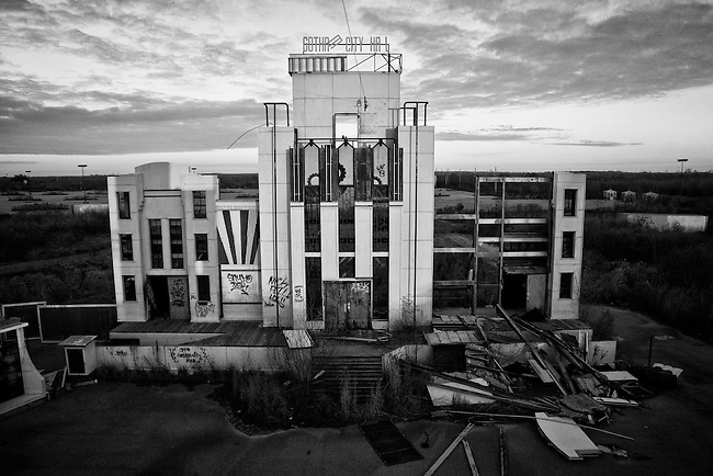 Gotham City Hall in the DC Comics Super Heroes Adventures area at Six Flags in East New Orleans - five years later after Hurricane Katrina.
