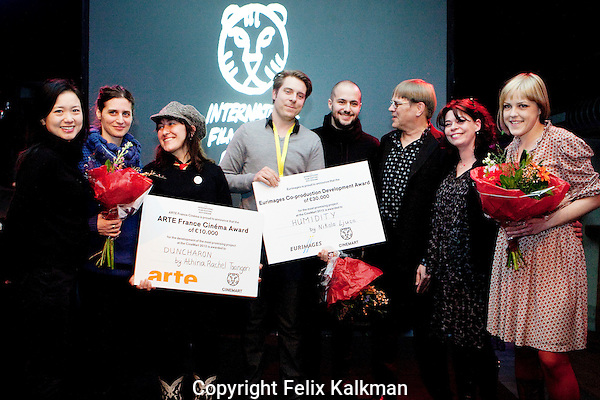 Rotterdam, february 1, 2012..International Film Festival Rotterdam.IFFR CineMart.Arte France Cinema and Eurimages Awards.Winnie Lau, Maria Hatzakou, Athina Rachel Tsangari, Paul Zischler,Nikola Ljuca, Petri Kempinnen, Claire Launey and Natasa Damjanovic..Photo by Felix Kalkman Copyright and ownership by photographer. FOR IFFR USE ONLY. Not to be (re-)distributed in any form. Copyright and ownership by photographer. FOR IFFR USE ONLY. Not to be (re-)distributed in any form.