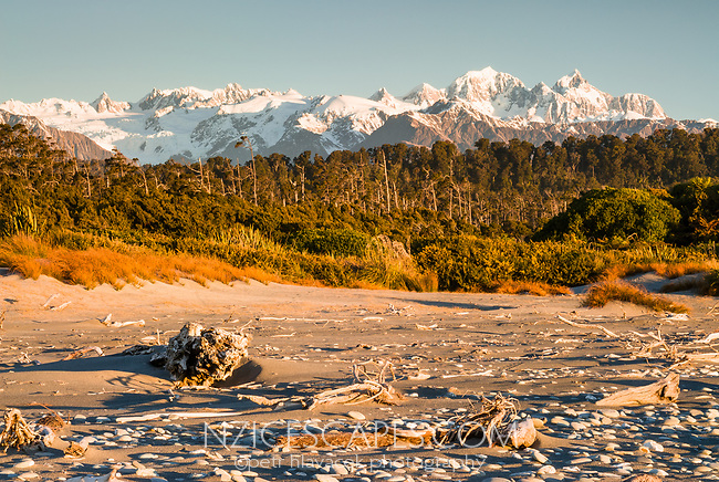 View of Mt. Tasman 3497m and Aoraki Mt. Cook 3724m from Three Mile Beach during sunset with driftwood, Westland Tai Poutini National Park, West Coast, UNESCO World Heritage Area, New Zealand, NZ