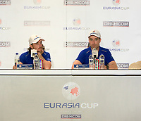 Tommy Fleetwood (Europe) and Ross Fisher (Europe) during an interview after the Friday Foursomes of the Eurasia Cup at Glenmarie Golf and Country Club on the 12th January 2018.<br /> Picture:  Thos Caffrey / www.golffile.ie
