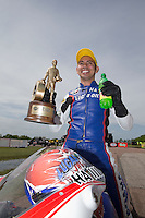 Apr. 28, 2013; Baytown, TX, USA: NHRA pro stock motorcycle rider Hector Arana Jr celebrates after winning the Spring Nationals at Royal Purple Raceway. Mandatory Credit: Mark J. Rebilas-