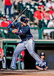 25 February 2019: Atlanta Braves catcher Alex Jackson at bat during a pre-season Spring Training game against the Washington Nationals at Champion Stadium in the ESPN Wide World of Sports Complex in Kissimmee, Florida. The Braves defeated the Nationals 9-4 in Grapefruit League play in what will be their last season at the Disney / ESPN Wide World of Sports complex. Mandatory Credit: Ed Wolfstein Photo *** RAW (NEF) Image File Available ***