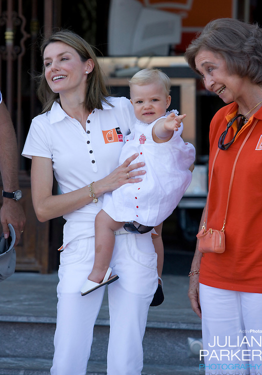 Crown Prince Felipe & Crown Princess Letizia of Spain,  with their children, Princess Leonor ( 2 ), and Princess Sofia ( 1 ), accompanied by Queen Sofia of Spain   at the Royal Yacht Club in  Palma, Mallorca. On the second day of The Copa Del Rey sailing regatta.