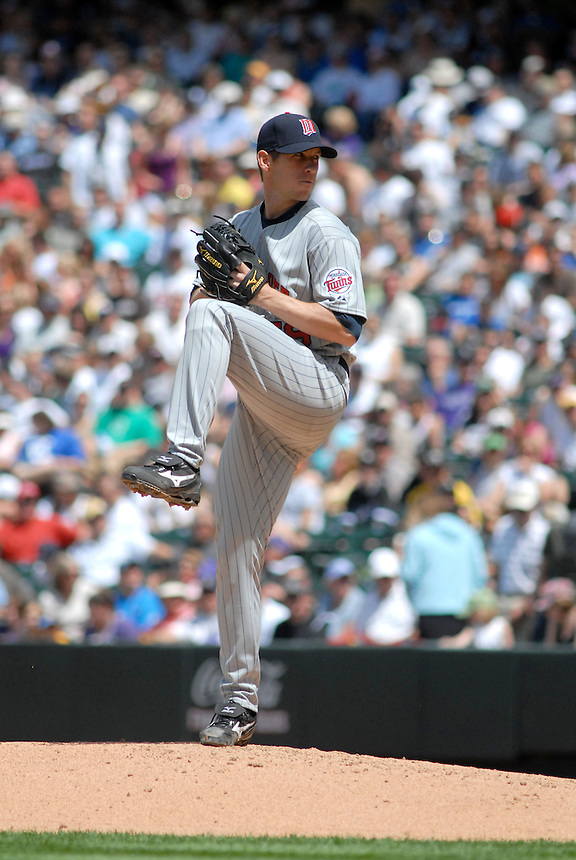 Twins starting pitcher Kevin Slowey pitches during an interleague game between the Colorado Rockies and the Minnesota Twins at Coors Field in denver, Colorado on May 18, 2008.
