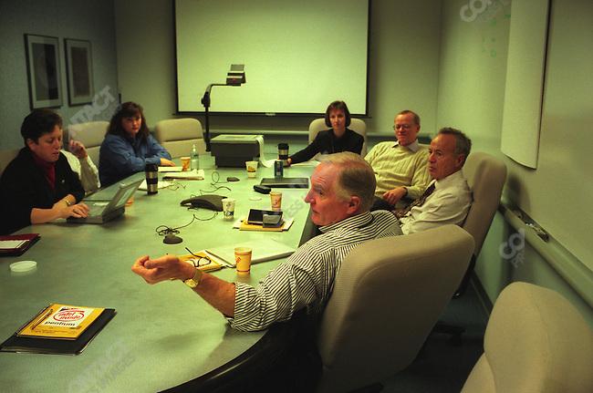 Craig Barrett, president of Intel, meeting with senior staff, Intel Headquarters, Santa Clara California, December 1997