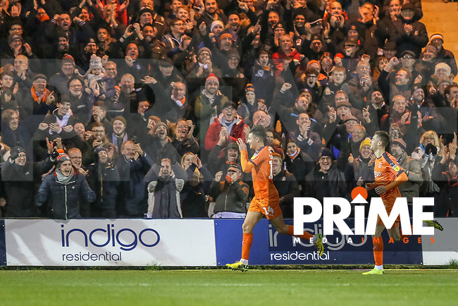 Cornick of Luton Town celebrates scoring the 4th goal during the Sky Bet League 1 match between Luton Town and Bradford City at Kenilworth Road, Luton, England on 27 November 2018. Photo by Thomas Gadd.