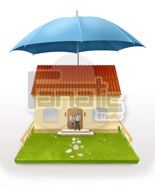 Illustrative image of an umbrella above house representing home insurance