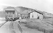 View from west showing rear of D&amp;RGW train with two office cars in rear of train, carrying Barriger party, at Cumbres depot.<br /> D&amp;RGW  Cumbres, CO  Taken by Barriger, John W. III - 9/25/1935