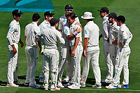 Black Caps celebrate the wicket of Ben Stokes off the bowling of Trent Boult, New Zealand Black Caps v England. Day 1 of the day-night, pink ball cricket test match at Eden Park in Auckland. 22 March 2018. Copyright Image: William Booth / www.photosport.nz
