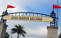 The entrance to Jackie Robinson Ballpark in Daytona Beach, FL , where Robinson played his first pro baseball game, a spring training game on March 17, 1946 when he was with the Montreal Royals, a class AAA minor league team.  (Photo by Brian Cleary/www.bcpix.com)