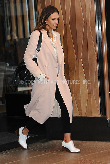 WWW.ACEPIXS.COM<br /> March 29, 2016 New York City<br /> <br /> Actress Jessica Alba leaves a downtown hotel on March 29, 2016 in New York City.<br /> <br /> Credit: Kristin Callahan/ACE Pictures<br /> <br /> Tel: (646) 769 0430<br /> e-mail: info@acepixs.com<br /> web: http://www.acepixs.com