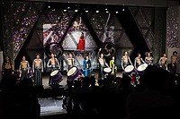 Performers welcome applause  at the end of a Mangekyo performance by Wadaiko group, DRUM TAO in Lumine 0 theatre, Shinjuku, Tokyo, Japan, Friday November 16th 2018. The Mangekyo  performance includes koto and shamisen music along with traditional  and contemporary taiko drumming and acrobatics. Organised by the Japan Tourist bureau (JTB) and the Japanese Government to entertain foreign visitors in readiness for the 2020 Tokyo Olympics. the performances run to the end of November and utilise state of the art projection mapping by TeamLab.