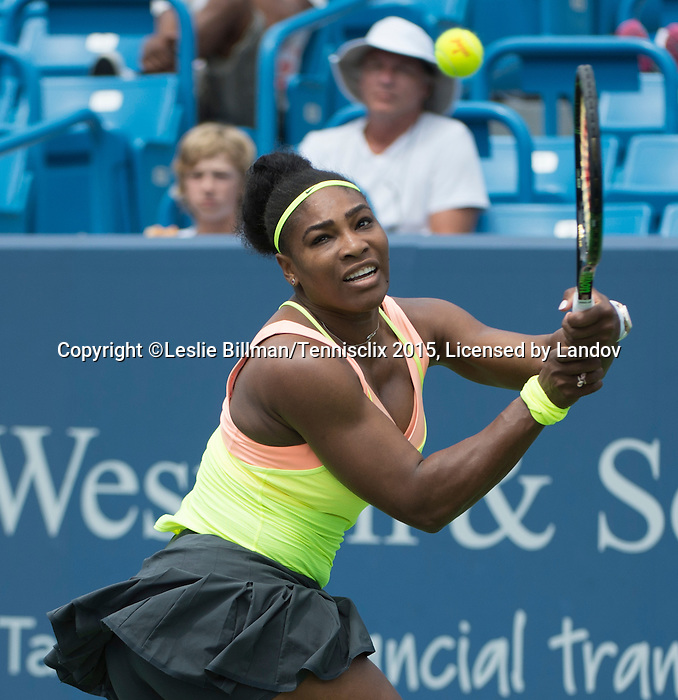 Serena Williams (USA) defeats Tsvetana Pironkova (BUL), 7-5, 6-1 at the Western and Southern Open in Mason, OH on August 19, 2015.