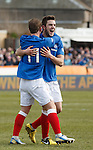 Andy Little celebrates his goal for Rangers with David Templeton