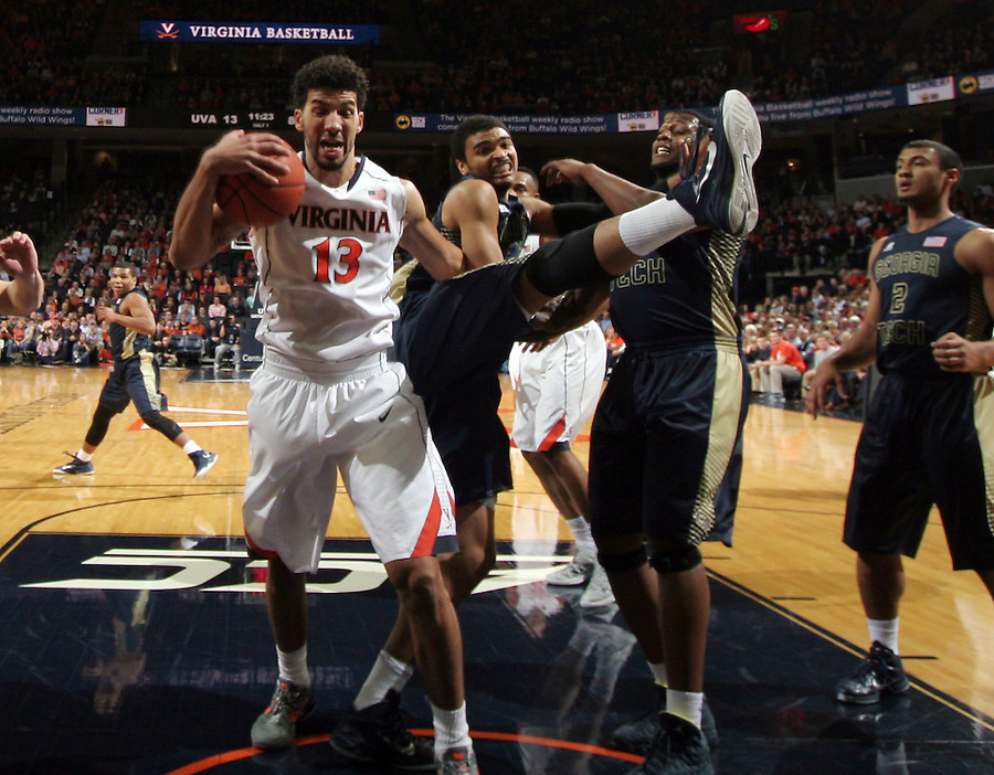 Virginia forward Anthony Gill (13)Georgia Tech forward Robert Sampson (13) during the game Jan. 22, 2015, in Charlottesville, Va. Virginia defeated Georgia Tech 57-28.