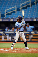 Vidal Brujan (2) at bat during the Tampa Bay Rays Instructional League Intrasquad World Series game on October 3, 2018 at the Tropicana Field in St. Petersburg, Florida.  (Mike Janes/Four Seam Images)