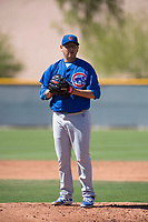 Chicago Cubs relief pitcher Javier Assad (40) during a Minor League Spring Training game against the Oakland Athletics at Sloan Park on March 19, 2018 in Mesa, Arizona. (Zachary Lucy/Four Seam Images)