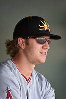 Mesa Solar Sox outfielder Chad Hinshaw (12) during an Arizona Fall League game against the Peoria Javelinas on October 15, 2014 at Surprise Stadium in Surprise, Arizona.  Mesa defeated Peoria 5-2.  (Mike Janes/Four Seam Images)