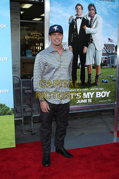 "Robert Van Winkle (aka Vanilla Ice).""That's My Boy"" Los Angeles Premiere held at the Regency Village Theatre, Westwood, California, USA..June 4th, 2012.full length grey gray blue baseball cap hat blue yellow shirt check trousers tattoos .CAP/ADM/RE.©Russ Elliot/AdMedia/Capital Pictures."