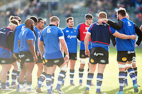 Bath Rugby players look on in a pre-match huddle. Aviva Premiership match, between Bath Rugby and Harlequins on November 25, 2017 at the Recreation Ground in Bath, England. Photo by: Patrick Khachfe / Onside Images