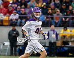 Kyle McClancy (#40) carries the ball into the attack as UAlbany Men's Lacrosse defeats Richmond 18-9 on May 12 at Casey Stadium in the NCAA tournament first round.