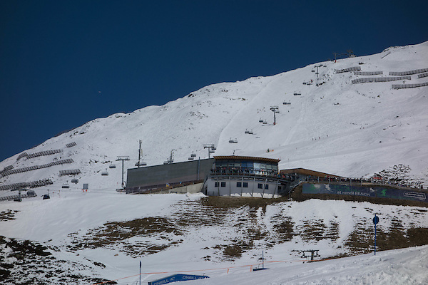 Rendl Restaurant from the Maass Chairlift at Rendl Ski Area, St Anton, Austria,